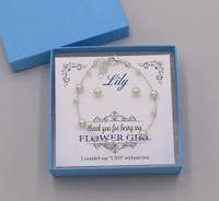 Mackenzie Pearl Flower Girl Bracelet and Earrings Jewelry Set