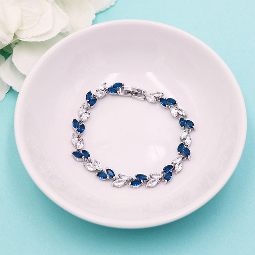Evelyn Sapphire Blue and Clear Bracelet