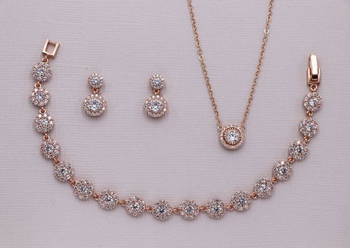 Aubrie Round Halo Earrings, Necklace and Bracelet Jewelry Set