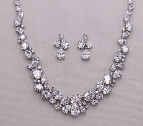 Madison CZ Bridal Wedding Jewelry Necklace Set