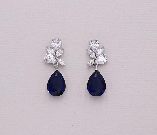 Natalia Sapphire Blue Cluster CZ Earrings