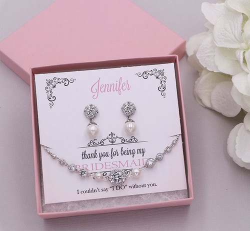 Livia Pearl Bridesmaid Bracelet Set