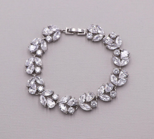 Angelique Pear and Marquise CZ Bridal Bracelet