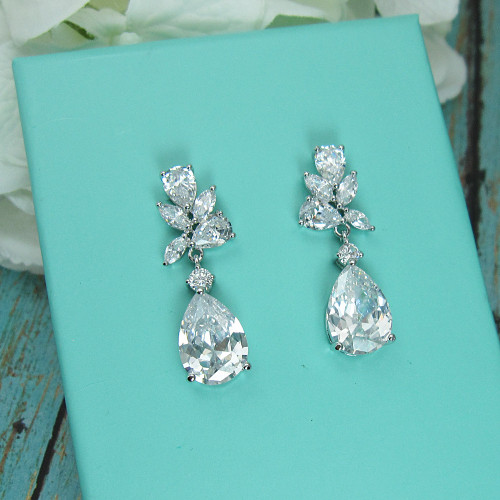 Natalia CZ Teardrop Dangle Wedding Earrings