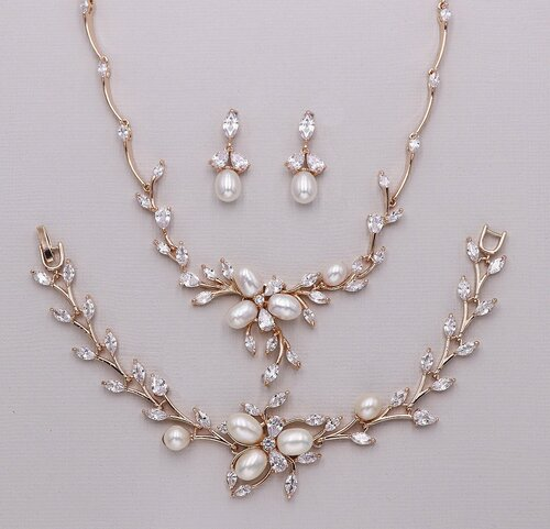 Dahlia Bridal Pearl Jewelry Set