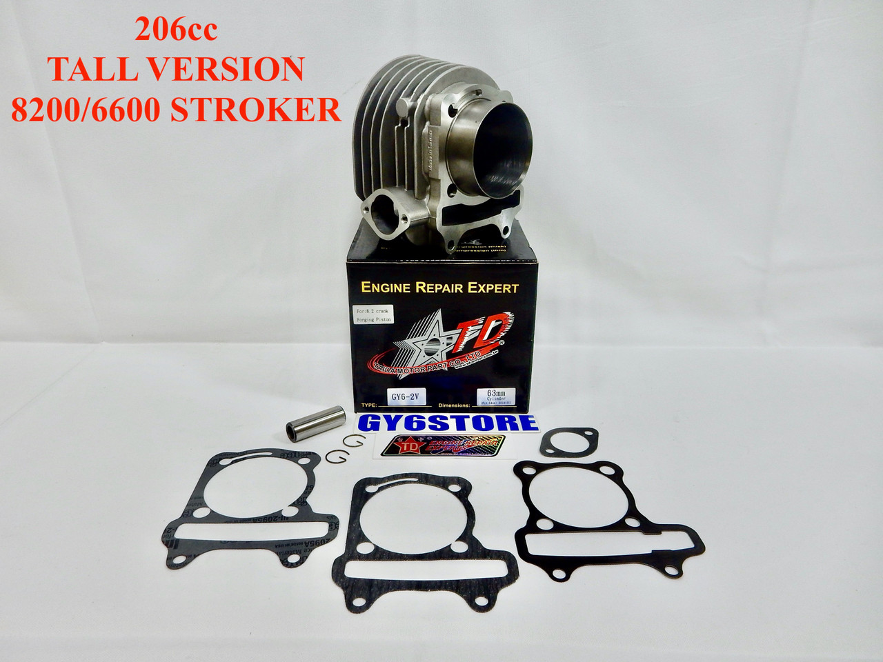 TAIDA 206cc (63mm) GY6 CYLINDER SET (54mm SPACING) TALL *8200/6600 STROKER* FORGED DOME PISTON