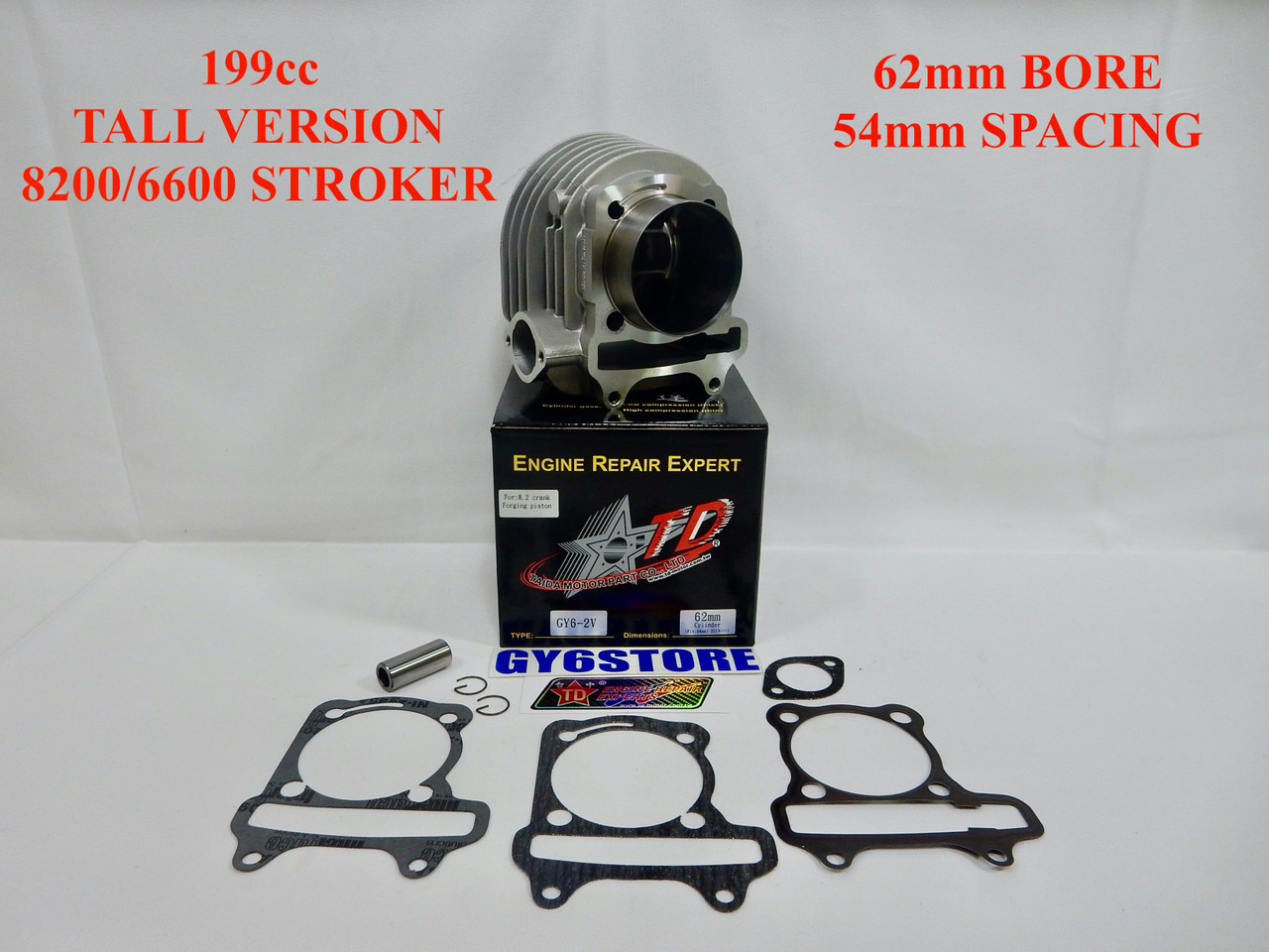 TAIDA 199cc (62mm BORE) GY6 CYLINDER SET (54mm SPACING) TALL *8200/6600 STROKER* FORGED FLAT PISTON