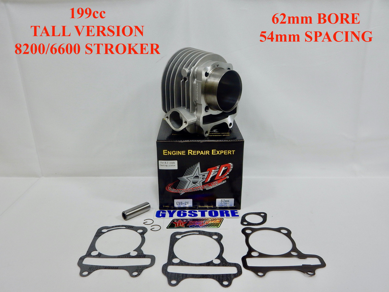 TAIDA 199cc (62mm BORE) GY6 CYLINDER SET (54mm SPACING) TALL *8200/6600 STROKER* CAST FLAT TOP PISTON