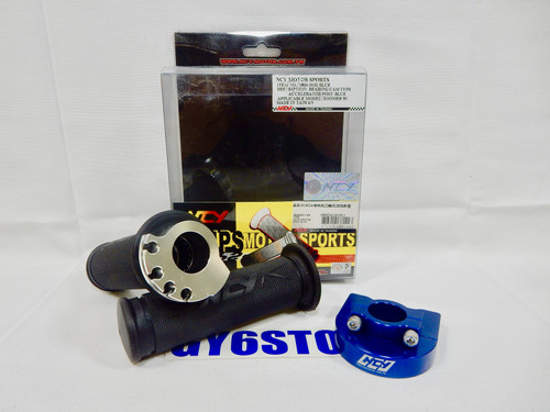 "NCY THROTTLE & GRIP SET (BEARING STYLE, 7/8"") *BLUE*"