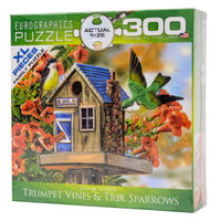 Trumpet Vines & Tree Sparrows Large Piece Jigsaw Puzzle