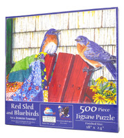 Red Sled and Bluebirds Jigsaw Puzzle