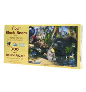 Four Black Bears (300 Large Piece Jigsaw Puzzle)