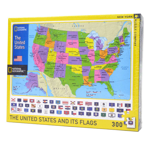 The United States and its Flags (Large Piece Puzzle)