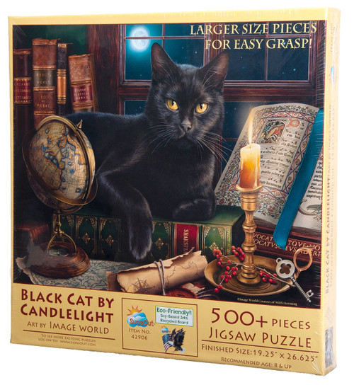 Black Cat by Candlelight Large Piece Jigsaw Puzzle