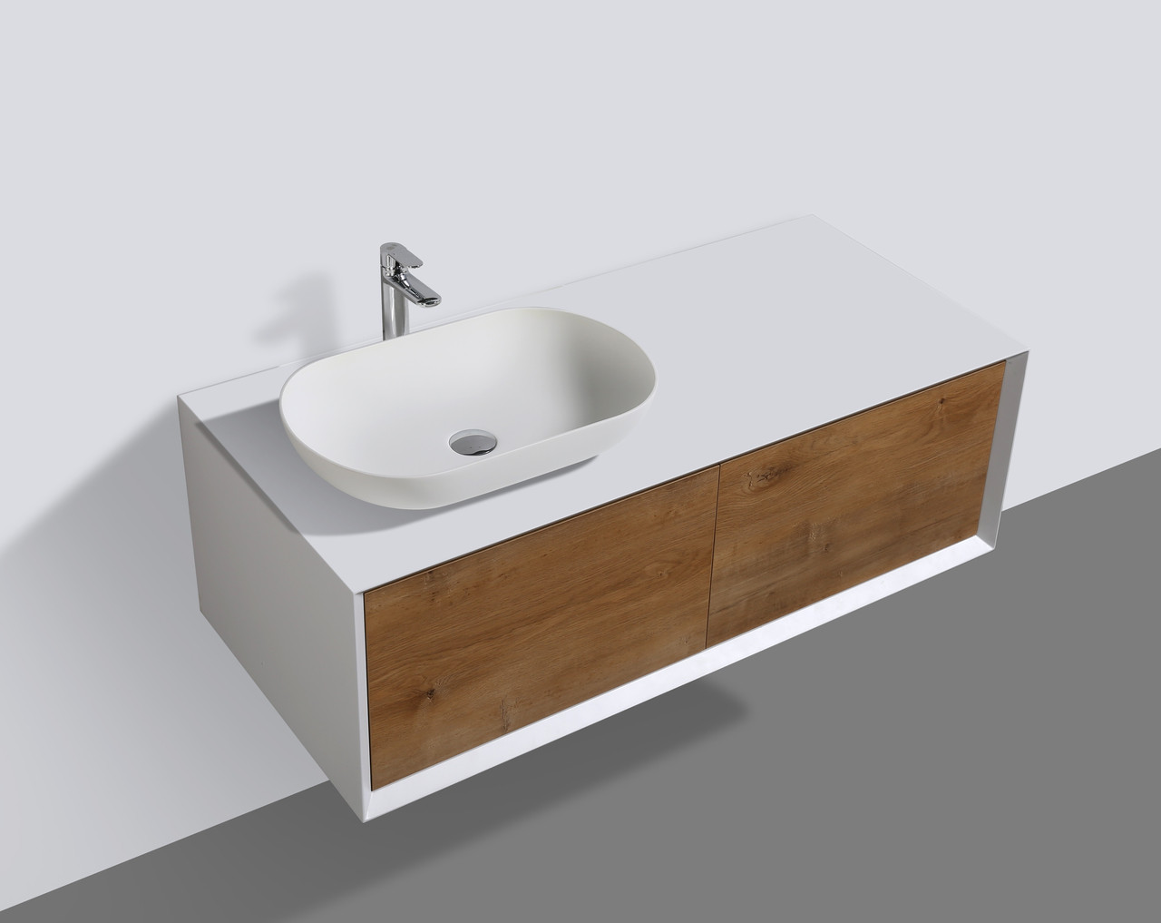 Purefine Fiona 48 Wall Mount Modern Bathroom Vanity With Vessel