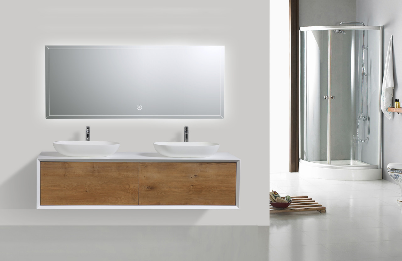 Fiona 63 Wall Mount Modern Bathroom Vanity With Double Vessel Sink Sequential Bath Inc