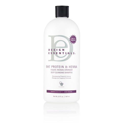 A 32oz bottle of Design Essentials Oat Protein & Henna Deep Cleansing Shampoo
