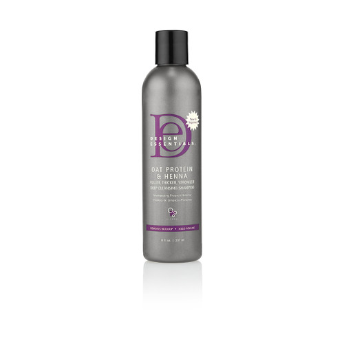 An 8oz bottle of Design Essentials Oat Protein & Henna Deep Cleansing Shampoo