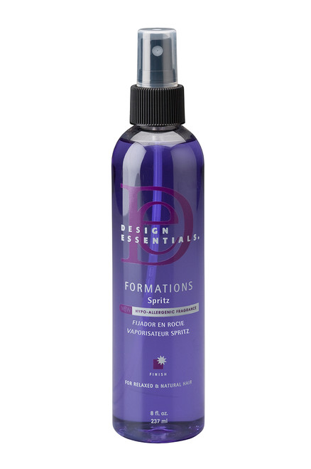 A bottle of Design Essentials Formations Finishing Spritz 8oz, with spray cap.