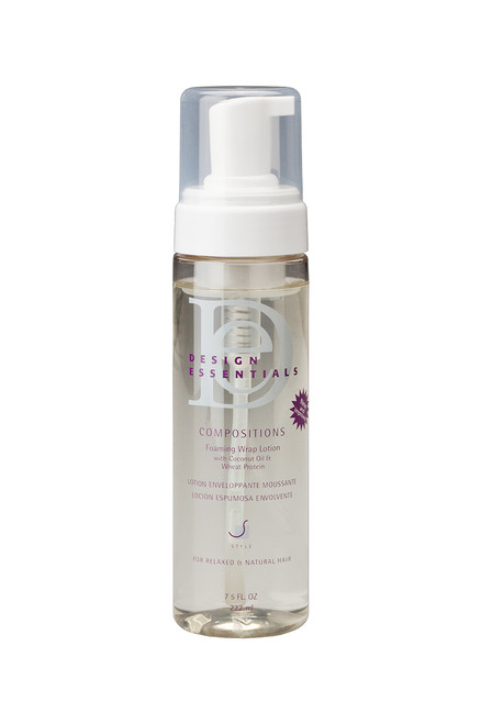 A spray bottle of Design Essentials Compositions Foaming Wrap Lotion  in the  7.5oz size.