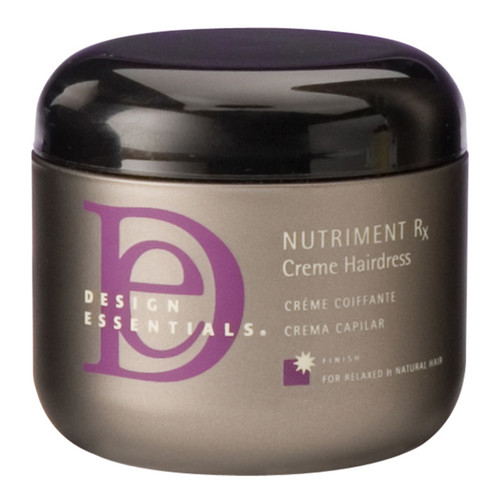 A jar of Design Essentials Nutriment Rx Pea Spout Creme Hairdress in 4oz.