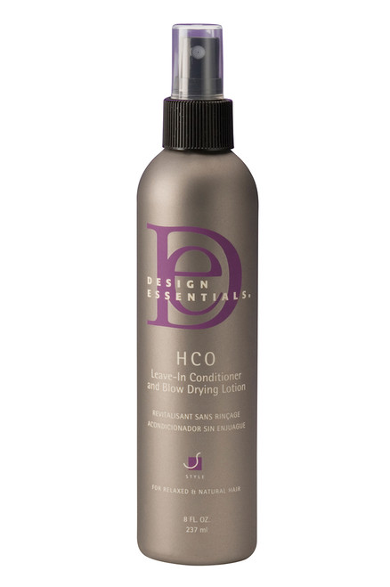 An 8oz bottle of Design Essentials Bamboo & Silk HCO Leave-In Conditioner