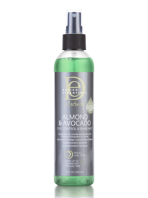 An 8oz bottle of Design Essentials Almond Avocado Curl Control Shine Mist - the front of the bottle