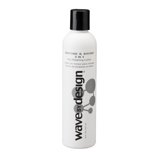 An 8oz bottle of Wave By Design Define & Shine 2-N-1 Dry Finishing Lotion