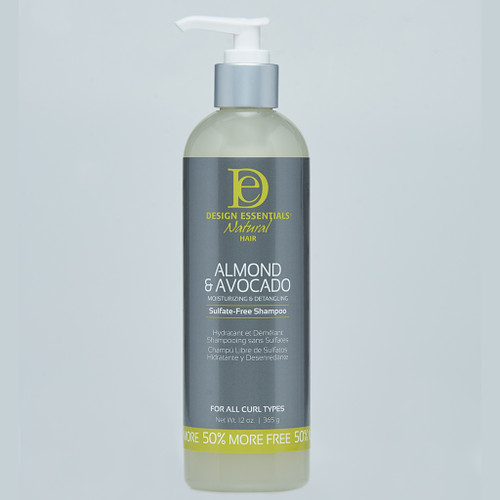 A 12oz bottle of Design Essentials Natural Almond & Avocado Moisturizing & Detangling Sulfate Free Shampoo