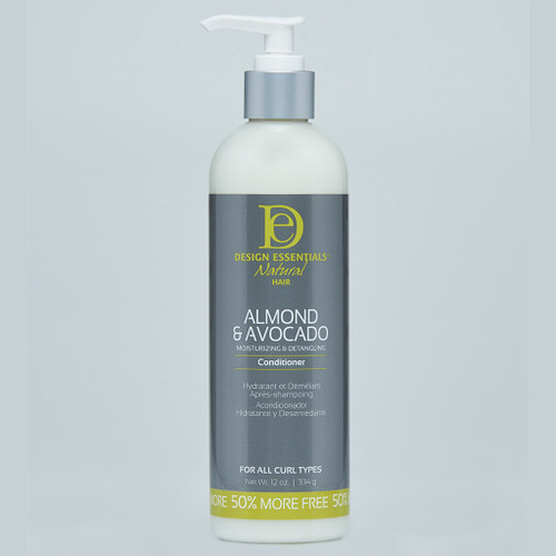 A 12oz bottle of Design Essentials Moisturizing & Detangling Conditioner