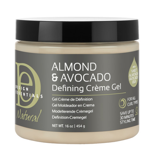 A 16oz jar of Design Essentials Almond & Avocado Curl Defining Creme Gel