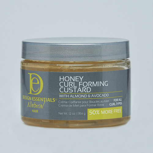 A 6oz jar of Design Essentials Almond & Avocado Natural Honey Curl Forming Custard
