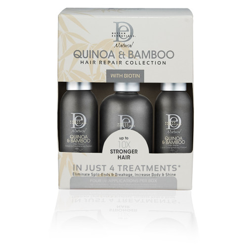 A box of Design Essentials Quinia & Bamboo Hair Repair Collection Kit