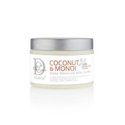An 8oz jar of Design Essentials Coconut & Monoi Deep Moisture Milk Soufflé