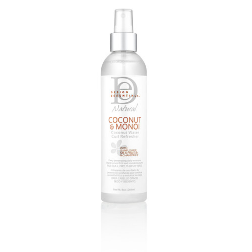 An 8oz bottle of Design Essentials Coconut & Monoi Coconut Water Curl Refresher
