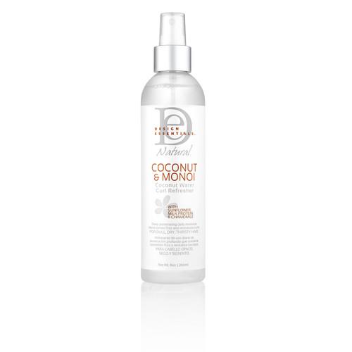 An 8oz bottle of Design Essentials Coconut & Monoi Coconut Water Curl Refresher