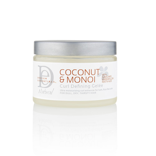 A 4oz jar of Design Essentials Coconut & Monoi Curl Defining Gelée