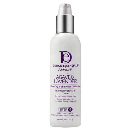 A 4oz bottle of Design Essentials Agave & Lavender Thermal Protectant Creme