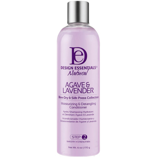 A 12 oz bottle of Design Essentials Agave & Lavender Moisturizing & Detangling Conditioner