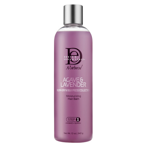 A 12oz bottle of Design Essentials Agave & Lavender Moisturizing Hair Bath