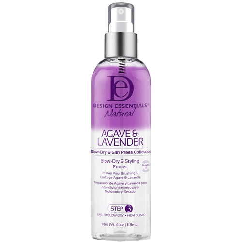 An 8oz bottle of Design Essentials Agave & Lavender Blowdry & Styling Primer