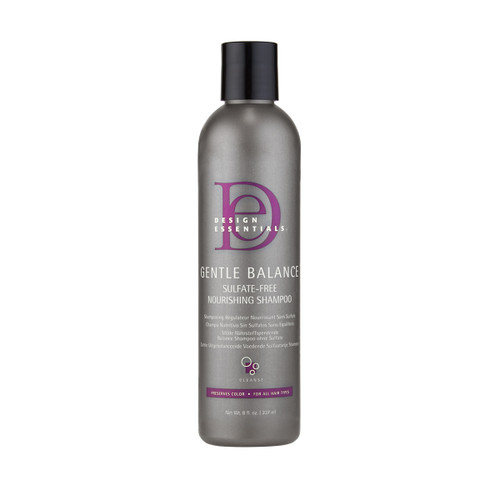 An 8oz bottle of Design Essentials Gentle Balance Nourishing Shampoo