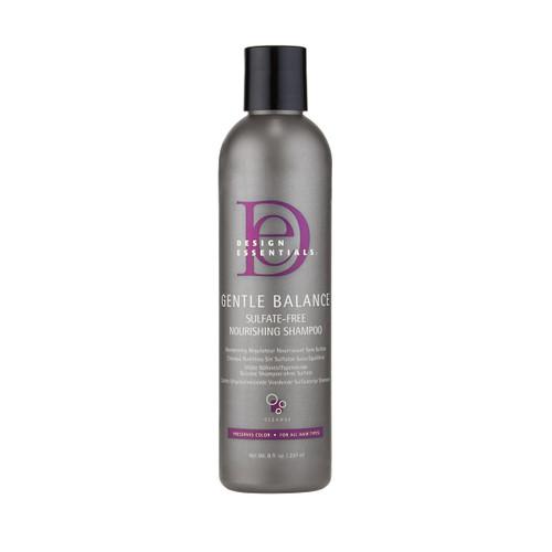 An 8oz bottle of Design Essentials Gentle Balance Nourishing Shampoo
