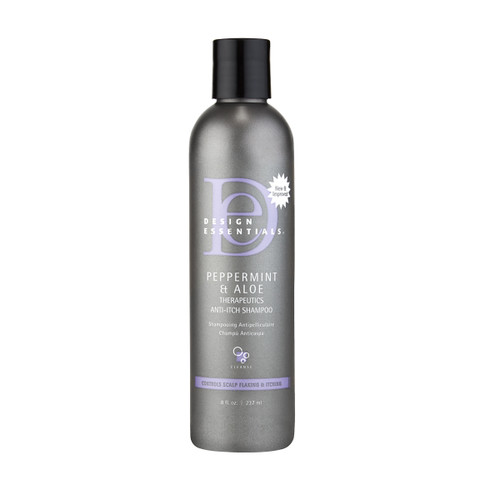 An 8oz refill bottle of  Design Essentials Peppermint & Aloe Therapeutics Anti-Itch Shampoo