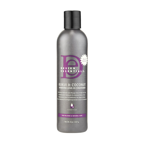 An 8oz bottle of Design Essentials Kukui & Coconut Hydrating Leave-In Conditioner