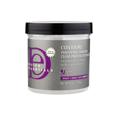 A 16oz jar of  Design Essentials Contours Panthenol Enriched Clear Protein Styling Gel