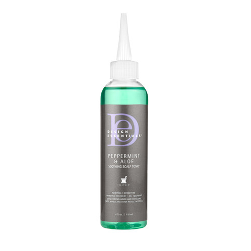 A 4oz bottle of  Design Essentials Peppermint & Aloe Soothing Scalp Tonic