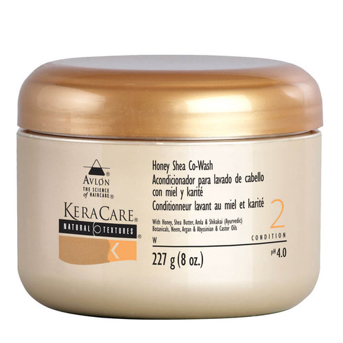 An 8oz jar of KeraCare Natural Textures  Honey Shea Co-Wash