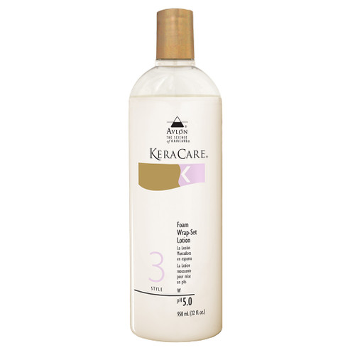 A 32oz bottle of KeraCare Foam Wrap Set Lotion