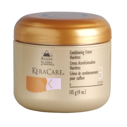 A jar of KeraCare Conditioning Creme Hairdress 4oz